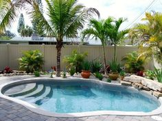 Beautiful Backyard Pools For Your Home Design Tropical Backyard Garden Swimming Pool Small Backyard Gardens, Backyard Garden Design, Patio Design, Balcony Gardening, Big Backyard, Backyard Designs, Modern Backyard, Small Backyards, Garden Pond