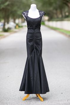 40s evening gown Small black formal mermaid prom by xRetroKitty