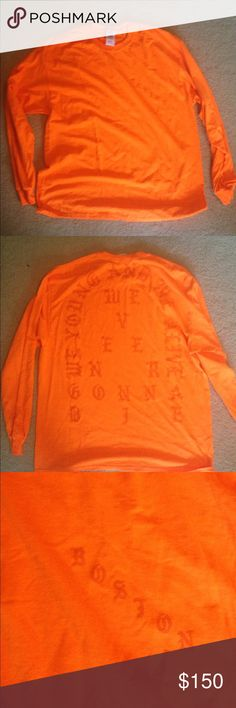 """AUTHENTIC TLOP Kanye West Long Sleeve I bought this from the Boston pop up shop but it's a bit too big for me ;( It's a unisex XL, though it's definitely cut a but slim. It's also not as fluorescent, but it is orange. Has the lyrics """"We young and we alive. We never gonna die."""" COMPLETELY AUTHENTIC. I can show you the receipt. It didn't come with tags but it's brand new. Only taken out for the pictures. Price is negotiable. Kanye West, TLOP Shirts Tees - Long Sleeve"""