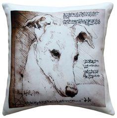 Leonardo's Dogs Greyhound Dog Pillow - contemporary - Decorative Pillows - Pillow Decor Ltd.