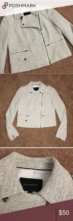 Banana Republic Tweed Moto Jacket Like new! Bought from another posher and it is just a tad too tight on my arms. Absolutely gorgeous jacket in excellent condition. Banana Republic Jackets & Coats