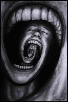 This image can link to many subjects often associated with disorder such as mental illness, depression, anxiety and psychotic behaviour however it still uses the human form and the heads each linking to a jaw create a premeditated pattern linking the image to order.