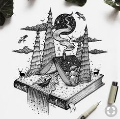 and surrealism with ink Illustrations - . Fantasy and surrealism with ink Illustrations - . Fantasy and surrealism with ink Illustrations - . Tattoo Drawings, Art Drawings, Pencil Drawings, Tattoo Sketches, Fantasy Drawings, Drawing Faces, Illustration Fantasy, Pen Illustration, Object Drawing
