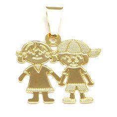 Pingente casal ( menina e menina)    com argola 3,10 X 2,10 cm.    2 Banhos de Ouro 18k.  Muito bem feito, detalhado, qualidade e beleza !! R$ 32,00