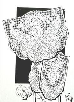 7386 Vintage Design FILET PEACOCKS Chair Set Pattern to Crochet (reproduction) in Crafts, Needlecrafts & Yarn, Crocheting & Knitting   eBay