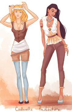 Se as princesas da Disney fossem ligadas em moda - Artista recria princesas da Disney com roupas modernas.