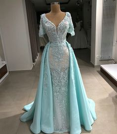Tulle V-Neck Short-Sleeves Appliques Long Evening Dress with Pearls A Line Evening Dress, Evening Dresses, Elegant Prom Dresses, Formal Dresses, Pageant Dresses For Women, Pearl Dress, Party Gowns, Mode Outfits, Beautiful Gowns