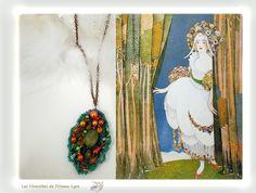 """Pendentif, bijou à parfumer. Annouchka. Bijou Créateur. Pièce unique. Perles, estampe, laine. Série """"Les feuilles perlées"""". : Collier par les-virevoltes-de-l-oiseau-lyre"""