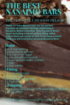 The Best Nanaimo Bars Recipe- A True Canadian Delicacy, eh Do you love Nanaimo bars but haven't found the best recipe yet? Here it is: How to make The Best & Easiest Nanaimo Bars Ever! Sandwich Bar, Roast Beef Sandwich, Nanaimo Bars, Chocolate Graham Cracker Crust, Chocolate Topping, Thumbprint Cookies, Christmas Cookies, Canada Day, Irish Cream