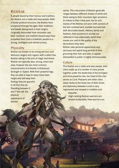 Keshar dungeons and dragons race -- homebrew (cat people) Dungeons And Dragons Races, Dungeons And Dragons Classes, Dungeons And Dragons Homebrew, Dungeons And Dragons Characters, Dnd Characters, Fantasy Characters, Fantasy Races, Fantasy Rpg, Twilight Princess