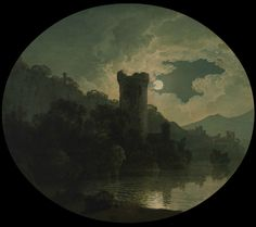 An Idealized View of Vesuvius from Posillipo, with Ruins and a Tower, Seen by Moonlight (1788 / Oil on canvas / Cropped) - Joseph Wright of Derby
