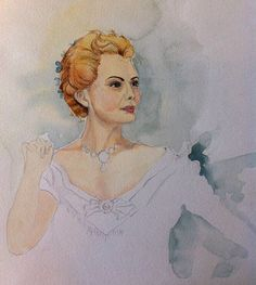 Michelle Pfeiffer portrait, watercolour