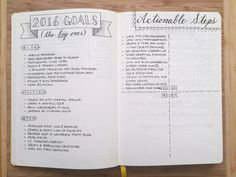 "Using a #bulletjournal to set and achieve goals on Boho Berry.  I like how she has the ""Actionable Steps"" for each quarter on the opposite page."