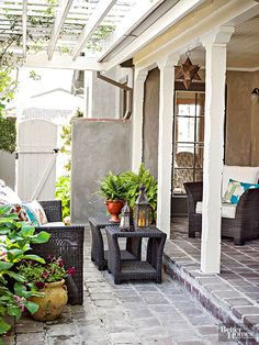 Amplify a patio's appeal and function by adding in fetchingly formed accent tables and vivaciously patterned fabrics. Decorate with flowerpots and accessories that suit your design preferences. Choose accessories that stand up to the elements along with items that will look better with weathering.
