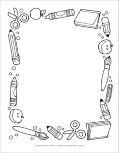 School supplies clipart black and white borders