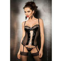 PASSION MARIE CORSET LEATHER NEGRO S/M - #sexshop, #lencería y #moda sexy divinaslocuras  Corset con #liguero 100% confeccionado en Europa en color  negro con detalles bordados fusionando tres telas  completamente ajustado al cuerpo realzando la silueta de la mujer y potenciando tu sensualidad , este #corset incluye cintas que se adaptan a tus medias favoritas ( no incluidas ) y un #tanga a juego confeccionado en la misma tela.