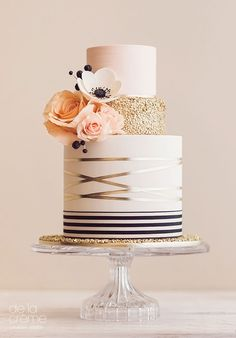 Blush, ivory & gold cake with rose and anemone sugar flowers  ~ we ❤ this! moncheribridals.com