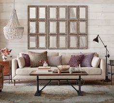 Behind couch wall decor wall decor behind couch above couch decorating ideas shutter decorating ideas behind Family Room Walls, Dining Room Walls, New Living Room, Living Room Decor, Living Room Wall Decor Ideas Above Couch, Decorating A Large Wall In Living Room, Barn Living, Wall Behind Couch, Mirror Above Couch