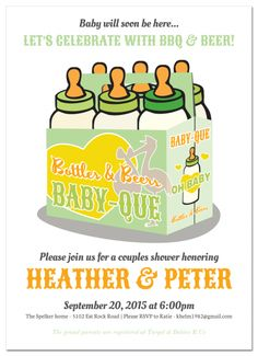 bottles six pack bbq baby shower invitation