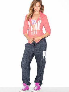 PINK Campus Pant in Vintage Black $39.95 #VSPINK I absolutely LOVE VS PINK sweatpants!!!