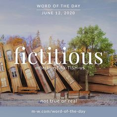 'Fictitious' is the #wordoftheday . #language #languagelearning #merriamwebster #dictionary Merriam Webster, Word Of The Day, Some Words, Grammar, Definitions, Awakening, Vocabulary, Language, Names