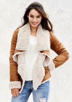 Laundry by Shelli Segal Draped Collar Faux Shearling Coat (Plus ...