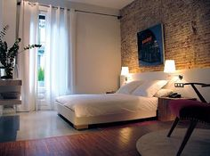 The 5 Rooms, Eixample, Barcelona, Spain - Explore & Book Small Room Layouts, Small Rooms, Design Hotel, My Room, Girl Room, Boutique Hotels, Brick Accent Walls, Brick Wall, One Room Apartment