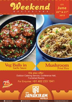 Veg Balls in Garlic sauce is a great combination for #Veg‬ #Mushroom‬ Fried Rice! Enjoy this #deilicious‬ combinations at #Srijanakiram_Hotels for this #weekend‬