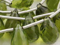 "Natural ""NO TREATMENT"", Genuine Green Peridot Medium Faceted Tear Drops, AAA Quality Gemstones 6x9mm, 1 Full Strand (PER6x9Tear)"