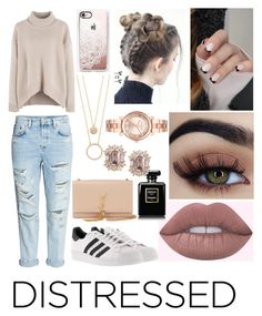 """True Blue: Distressed Denim"" by emily5302 ❤ liked on Polyvore featuring adidas, Yves Saint Laurent, Casetify, Kate Spade, Michael Kors and distresseddenim"