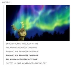 Finland is adorable in a reindeer costume. :3 Gaaahhh!!! Why does he have to be so cute?!?!