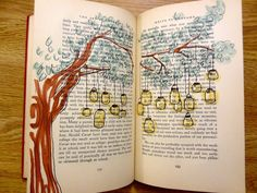 pretty book art.  would be cool to do so that the lamps highlight certain words to create a secret message.