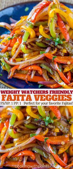 Easy Fajita Vegetables made in the cast iron skillet with a homemade Mexican Seasoning in just 15 minutes. The perfect fiber rich side dish for your favorite fajita recipes with just 1 Weight Watchers smart point per serving. Ww Recipes, Veggie Recipes, Mexican Food Recipes, Vegetarian Recipes, Cooking Recipes, Healthy Recipes, Cooking Ham, Recipies, Vegetarian