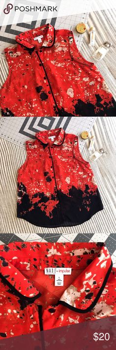 Paint Splattered Black & Red Top Very modern and edgy! Wore this to the office a few times as a cardigan. It's in perfect condition! Fits like a medium. impulse Tops Button Down Shirts