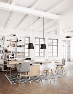 Mark the working space by using a rug in the centre of the working table. It brings all the elements together in unity.