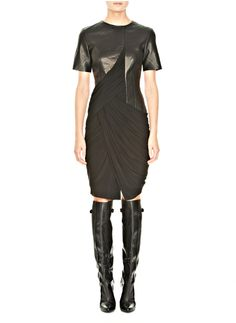 Leather Tee Shirt Dress with Trapped Drape - Lyst