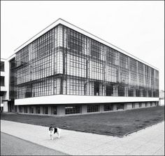 Walter Gropius, Bauhaus Dessau (1925-1926) - the glass curtain is simply folded about the corners of the building/ blend into each other at just the point where the human eye expects to encounter guaranteed support for the load of the building