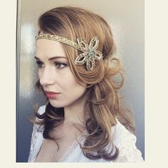 Gold Metallic Bronze Grey 1920 Great Gatsby Headpiece / Gold Grey Bronze Art Deco Headband / Daisy Buchanan Head Aceessory