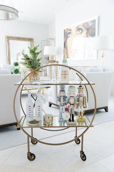 styled holiday bar cart