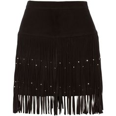 Rebecca Minkoff Flight embellished fringed suede mini skirt (740 BRL) ❤ liked on Polyvore featuring skirts, mini skirts, black, suede mini skirt, embellished mini skirt, studded skirts, suede leather skirt and studded mini skirt