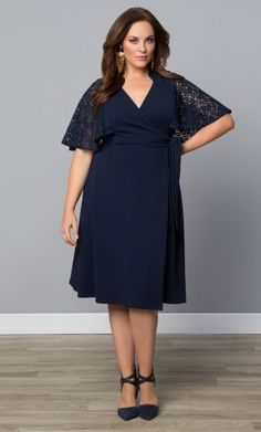 TAKE EXTRA 50% OFF! Plus Size Dress - SALE Charming Lace Wrap Dress - Navy Blue Shop www.curvaliciousclothes.com