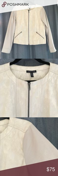 """Eileen Fisher jacket Size: S/P. Cream colored jacket. Zip up, 2 zipper pockets and zippers at wrists. Sleeves are a different fabric than body (see fabric tag). Last photo shows a close up of body fabric which is sort of hard to explains. The arm fabric feels like a thin canvas-like material. Beautiful jacket! Pit to pit 19"""", length 21"""", sleeve length 23"""", Waist 19"""" wide. Eileen Fisher Jackets & Coats"""