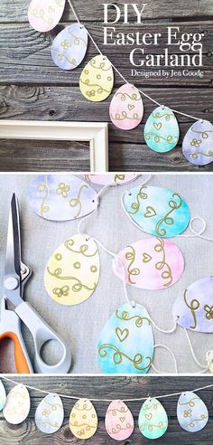 Easter Egg Garland Printable and SVG by Jen Goode decorating photoshoot Printable Easter Egg Garland and SVG - 100 Directions Easter Garland, Easter Banner, Bunting Template, Bunting Pattern, Easter Arts And Crafts, Egg Crafts, Easter Pictures, Diy Easter Decorations, Easter Printables