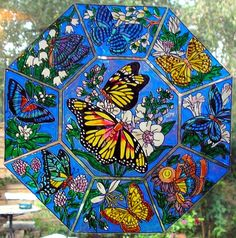 WICOART STICKER WINDOW COLOR CLING FAUX STAINED GLASS OCTOGONE PAPILLONS VITRAIL