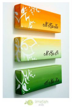 Custom Triptych Painting: Any Colors Any Text by limefishshop on Etsy... This 3-canvas artwork can be 100% personalized!