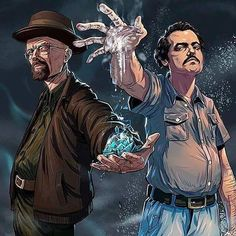 Walter White and Pablo Escobar Breaking Bad Narcos Breaking Bad Poster, Breaking Bad Arte, Pablo Escobar, Heisenberg, Narcos Escobar, Geeks, Breakin Bad, Films Marvel, Hxh Characters