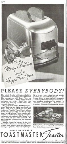 1936 Toastmaster Automatic Toaster Hospitality Tray Christmas Gift Vintage Ad