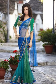 I like the contrast, design, and colors. Dont like the concept, a traditional sari would be good