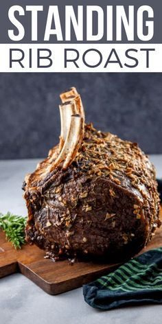fitness - The best Standing Rib Roast Recipe! A Standing Rib Roast is easier to make than you might think! It is the quintessential holiday roast centerpiece Standing rib roast, also called the prime rib roast or bone in prime rib, will impress your Chris Prime Rib Roast Recipe Bone In, Bone In Rib Roast, Cooking Prime Rib Roast, Best Roast Beef Recipe, Slow Roasted Prime Rib, Beef Rib Roast, Cooking A Roast, Roast Beef Recipes, Rib Recipes