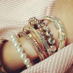 Bracelets  #jewelry  #pearl  #gold  #fashion